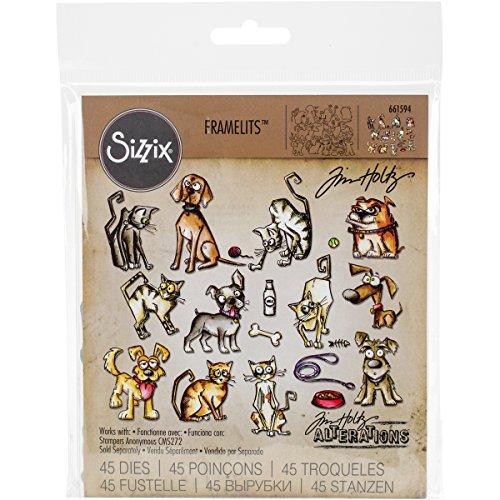 Dog Stamp Collection - Sizzix Doodlebug SIZ661594 THoltz Framelits Die Mini Cats & Dogs Crazy