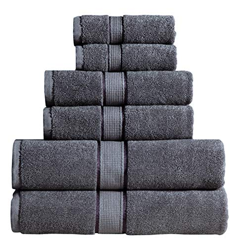 Wicker Park 600 GSM Ultra Soft 100% Cotton 6 Piece Towel Set (Grey): 2 Bath Towels, 2 Hand Towels, 2 Washcloths, Long-Staple Cotton, Spa Hotel Quality, Super Absorbent, Machine Washable