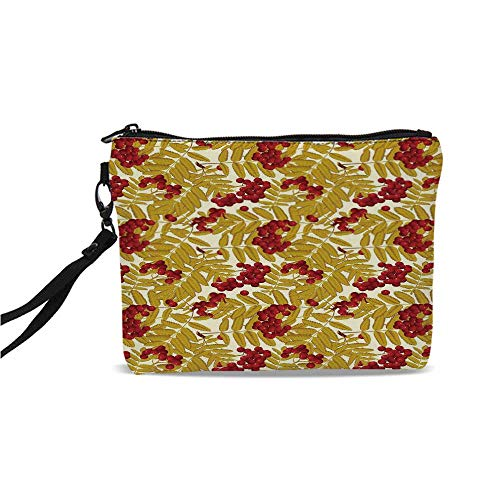 Rowan Simple Cosmetic Bag,Juicy Ripe Rowan Fruits with Golden Colored Leafage Tasty Foliage in Wilderness Decorative for Women,9