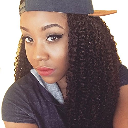 Remeehi 100% Brazilian Human Hair Wigs Front Lace Curly Wave Wavy Hair Wig Glueless Half Hand Made Lace Wigs Free Part 16 Inches 1# Jet Black