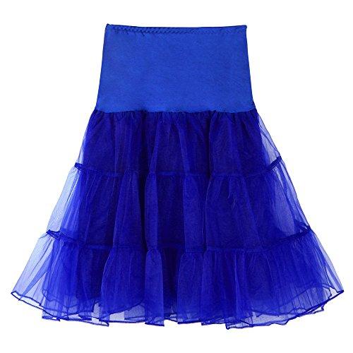 iZHH Womens High Waist Pleated Short Skirt Adult Tutu Dancing Skirt(Blue,L) -