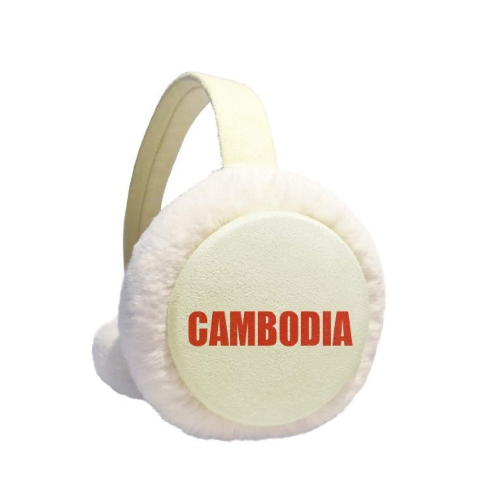 Cambodia Country Name Red Earmuff Ear Warmer Faux Fur Foldable Outdoor