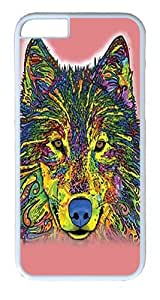 """iPhone 6 Case - Scratch Protection Ultra Slim Fit Hard PolyCarbonate White Plastic Case for Apple iPhone 6 (4.7"""") with Pattern: Russo Wolf"""