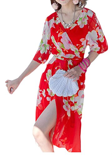 Outfit Cromoncent Summer Bohemians Beach Pink Flowy Dress Printing Long Women SRSgnpT
