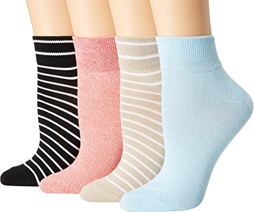 HUE Women's Super Soft Cropped Ankle Sock, 4 Pair Pack, Coral Bliss Pack, One (Ankle Cropped)