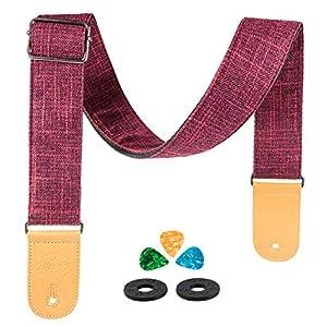 Gitarrengurt Vintage Woven Linen für klassische E-Gitarren Bass Acoustic Ukulele mit Mikrofaser Leder End Picks Holder