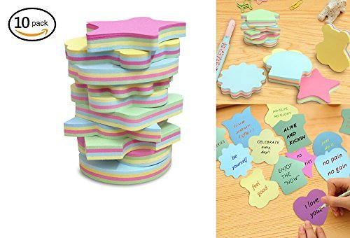Colorful Sticky Notes In 10 Different Shapes, Bundle Pack - 10 Pads 100 Sheets Per Pads (1000 Sheets!)