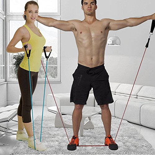 ArMordy(TM) 11Pcs/Set Resistance Belt Pilates Latex Tubing Expanders Exercise Tubes Practical Strength Resistance Band Sets Crossfit Fitness by ArMordy