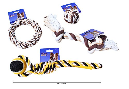- 4 Different Dog Toys Cotton and Leather Bone, Ring, Ball, Pull and Play Rope with Handle and Ball Dog Toy Set- Set of 4 for all Breeds of Dogs
