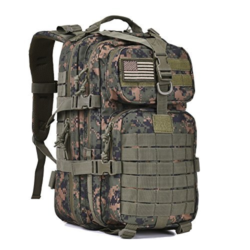 Bag Woodland Shoulder (Military Tactical Assault Pack Backpack Army Molle Bug Out Bag Backpacks Rucksack for Outdoor Hunting Camping School 34L Small Woodland Camouflage)
