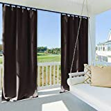 NICETOWN Patio Curtain Outdoor Drape Panel, Thermal Insulated Light Blocking Outdoor Curtain for Pool, Outdoor Curtain with Tab Top (1 Panel, 52-Inch x 95-Inch, Toffee Brown)