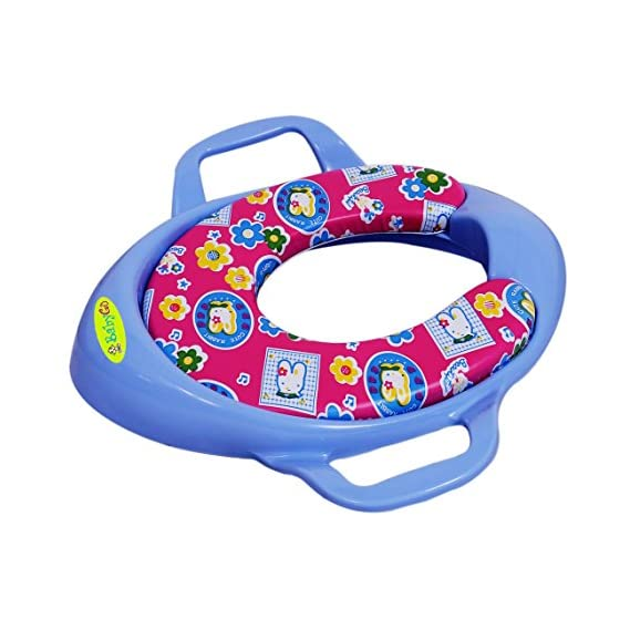BabyGo Cushioned Potty Seat, Toilet Seat with Handle for Kids (Blue)
