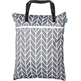 Teamoy Travel Hanging Wet Dry Bag Organizer (24.7 x 18 inches) with Two Compartments for Cloth Diaper, Laundry, Swimsuits and More, Easy to Hang Everywhere (L, Gray Arrow)