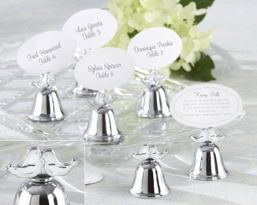 Lovebirds' Silver-Finish Kissing Bell Place Card Holder (Set of 24) - 8 Sets in Total