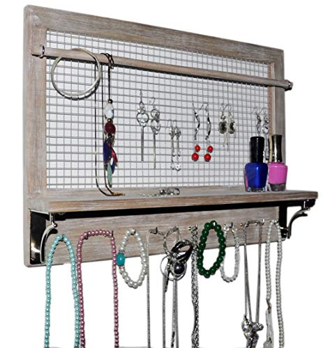 Spiretro Wall Mount Grey Jewelry Organizer, Holder Rack with Hooks Shelf and Removable Rod, Hanging Earrings Necklaces Bracelets Rings, Storage Accessories, Farmhouse Rustic Torched Wood
