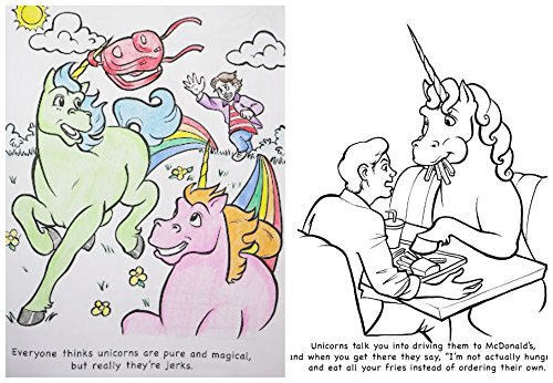 amazoncom unicorns are jerks coloring book art set adult coloring books bundle with colored pencils unicorn poop candy sticker coloring pages for - Unicorns Are Jerks Coloring Book