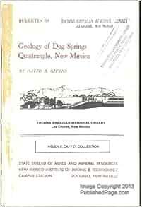 Geology of Dog Springs Quadrangle, New Mexico: David B. Givens, Large