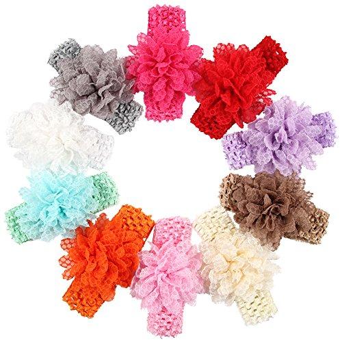 De Bandeaux / Girl ROEWELL®Baby cheveux Arcs / Hairband Infant Couvre-chef Fleur cheveux (10 pcs)