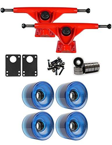 磁気秘書プレビスサイトRKPレッドLongboard Trucksホイールパッケージ70 mm x 51.5 MM 83 A 647 Cブルークリア