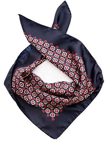 Elizabetta Italian Designer Silk Square Scarf Neckerchief, Burgundy & Navy - Exclusive Silk Twill