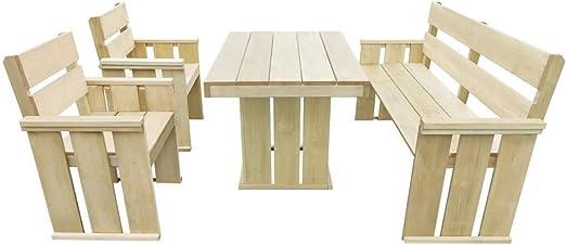 LD Muebles de Jardín de 4 piezas madera de pino madera Essgruppe Asiento Grupo Mobiliario de jardín: Amazon.es: Jardín