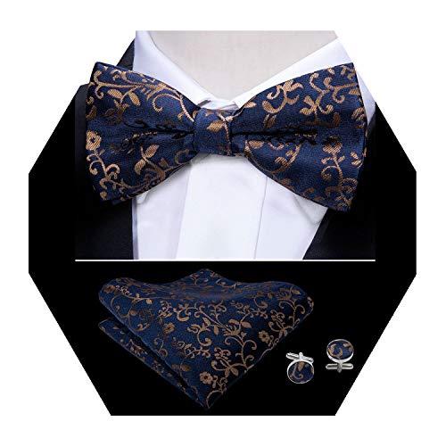 Logo Cufflinks Set - Mens Bow Tie Set Pretied Bow Tie Designer Paisley Bowtie Set Yohowa (Brown)