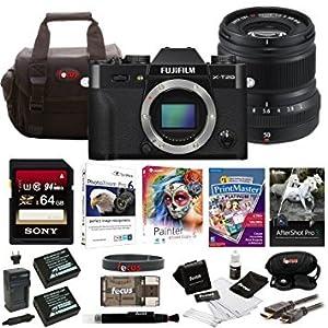 Fujifilm X-T20 Mirrorless Camera Body 64GB Body + 50mm Lens Bundle (Black)