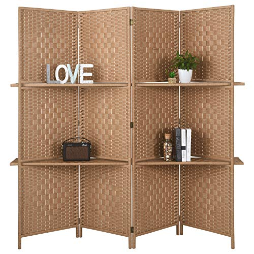 RHF 6 ft.Tall-Extra Wide Diamond Weave Fiber 4 Panels Room Divider,4 Panel Folding Screen Privacy, Partition Wall, Room Dividers with 2 Display Shelves,Natural-4 Panel, 2 Shelves (Outdoor Furniture Living Natural Sale)