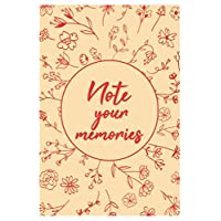 Note your memories notebook, lined notebook 6x9 inches, 120 pages, red floral cover.