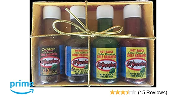 4 Flavor Mini Gift Pack of El Yucateco Mexican Hot Sauces 50 ml (1.75 oz) each