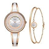 MAMONA Women's Rose Gold-Tone Bangle Watch and Bracelet Set L3889RGGT