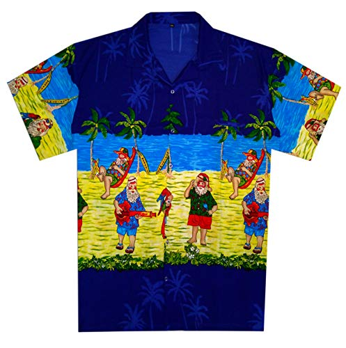 Virgin Crafts Men's Christmas Holiday Santa Claus Party Casual Tropical Hawaiian Beach -
