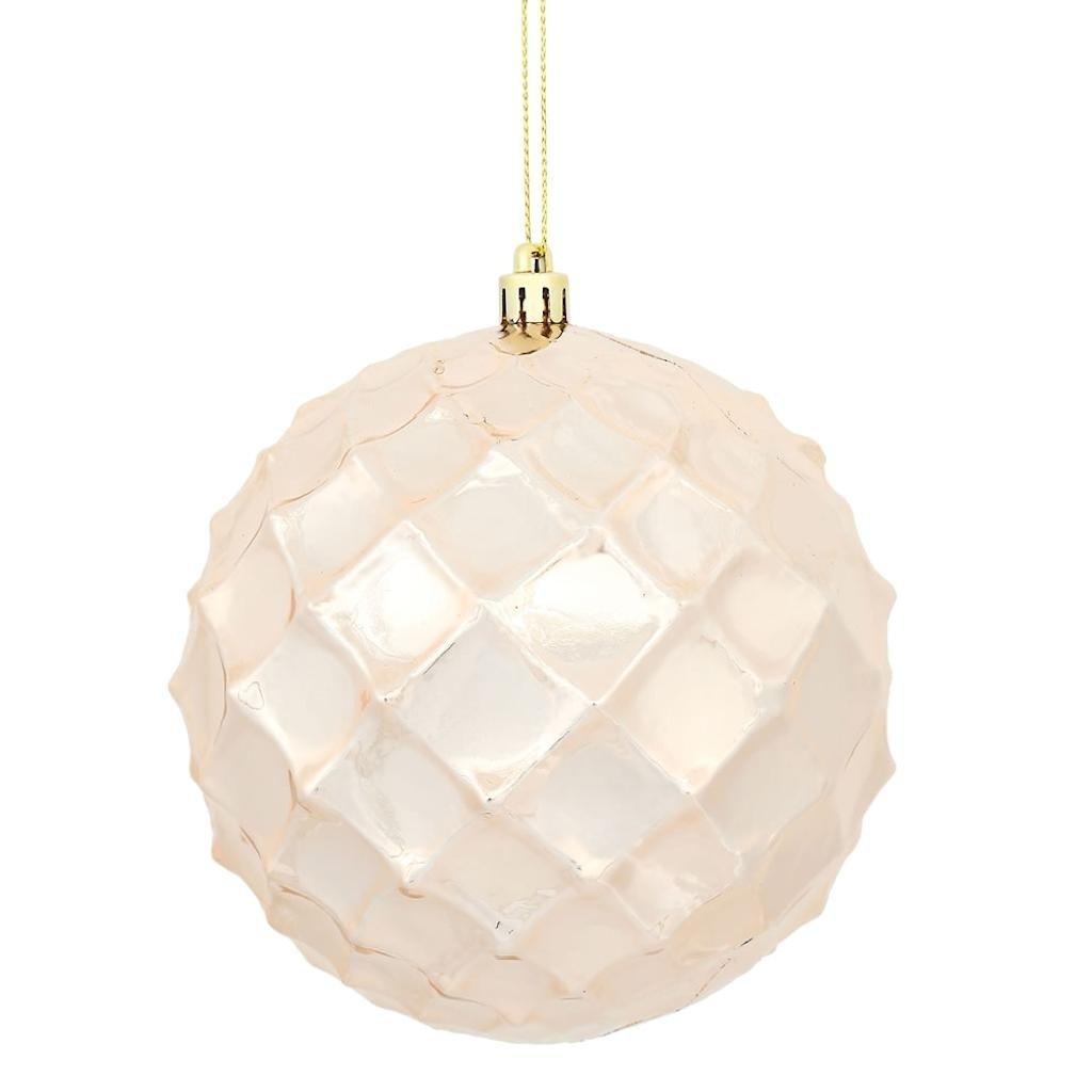 Vickerman 474778-4 Rose Gold Shiny Diamond Bauble Christmas Tree Ornament (6 pack) (N174158D)