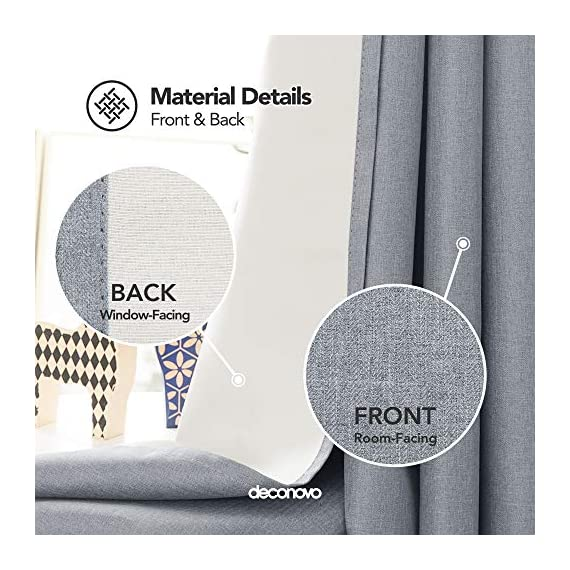 Deconovo Complete Blackout Curtains Faux Linen Thermal Insulated Room Darkening Energy Saving Noise Reduction Grommet Draperies for Small Window Grey 52W x 54L Inch Set of 2 - Available in 5 different colors and 6 sizes options(52x45 inch, 52x54 inch, 52x63 inch, 52x72 inch, 52x84 inch, 52x96 inch). Please select the appropriate products according to your requirements. Deconovo faux linen blackout curtains are made from 100% high quality polyester fabric, imported. These blackout curtains with coating layer, faux linen fabric and a thin layer of fabric was added to the back of the coating, so as to enhance their blackout and insulating functinons. Deconovo total blackout curtains are soundproof, so it can reduce noise and offer you a real dark envirnment and bring you a good sleep during the day time and night. - living-room-soft-furnishings, living-room, draperies-curtains-shades - 51G%2Bru0yNKL. SS570  -