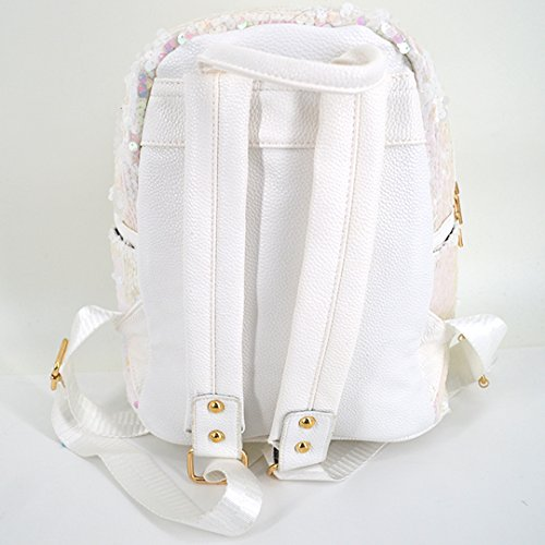 Women Backpack Cute Mini White Glitter and Felice Bow Purse Shoulder Girls Bag for Leather Sequin black qXpOnxwt