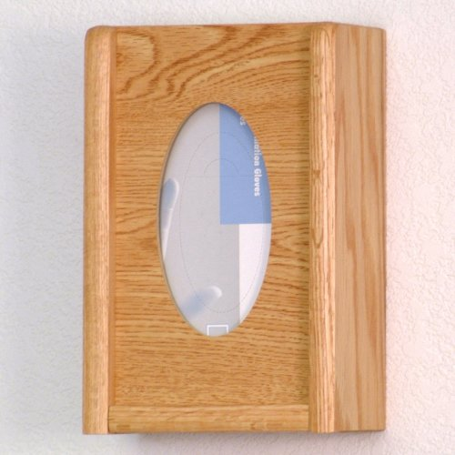 DMD Glove and Tissue Box Holder, 1 Pocket, Oval Hole, Perfect for Exam Room, Light Oak Wood Finish