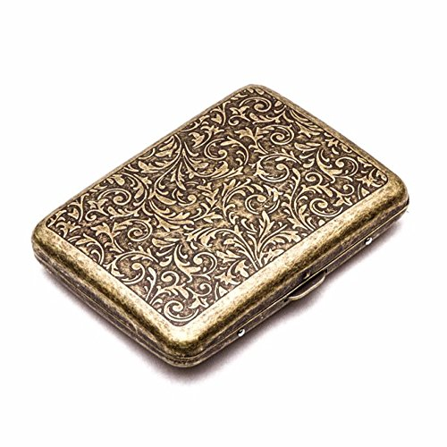 Retro Metal Cigarette Case Box - Yhouse Double Sided Spring Clip Open Pocket Holder for 20 Cigarettes (Golden)