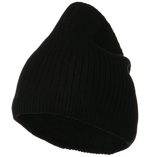 24501b63aa1 Big Stripe Ribbed Cotton Beanie - Black (for Big Head) at Amazon Men s  Clothing store  Skull Caps