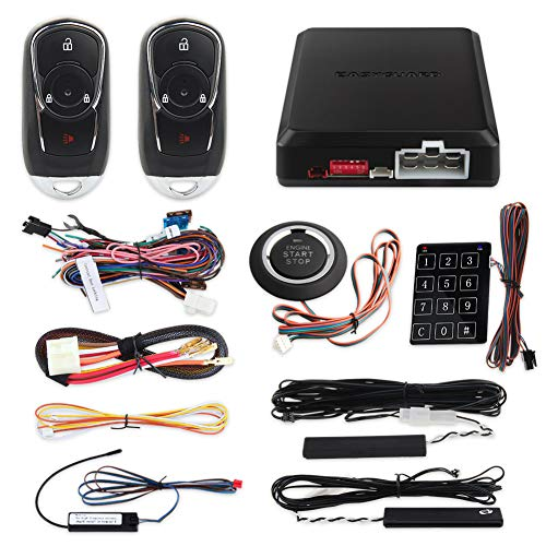 EASYGUARD EC002-bu Intelligent RFID PKE Car Security Alarm System Auto Start keyless Entry Push Button Start & Touch Password Entry Passive Locking Unlocking Rolling Code FSK Technology