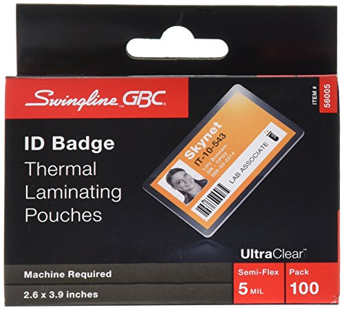 Swingline GBC Laminating Sheets, Thermal Laminating Pouches, ID Card Size, 5 Mil, HeatSeal UltraClear, 100 Pack - Laminating Badge Id