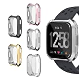 Fitbit Versa Case, SIRUIBO TPU Plated Screen Protector Rugged Cover [Scratch-Proof] All-around Protective Bumper Shell for Fitbit Versa Smartwatch, 5 Pack