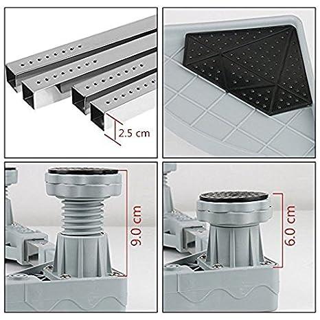 Zócalo para lavadora, nevera; base ajustable con 4 pies regulables, soporte suelo, altura regulable, base para secadoras, neveras, congeladores