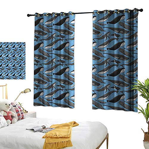Blackout Curtain Fish Girl Room Blackout Curtain Whale Dolphin Orca Humpback 63