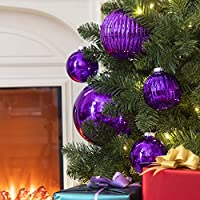 ki store large christmas ball ornaments purple oversize decorative hanging ornament mercury balls 8 inch oversize shatterproof vintage for xmas decorations - Large Christmas Ball Ornaments