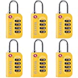TSA Approved Luggage Lock - 4 Digit Combination padlocks with a Hardened Steel Shackle - Travel Locks for Suitcases & Baggage (YELLOW 6 PACK)