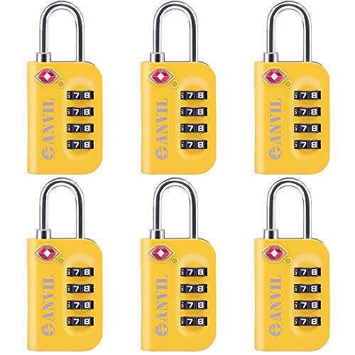 - TSA Approved Luggage Lock - 4 Digit Combination padlocks with a Hardened Steel Shackle - Travel Locks for Suitcases & Baggage (YELLOW 6 PACK)