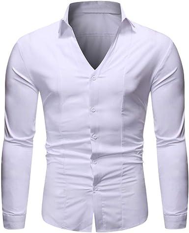 Rawdah Camisas Hombre Manga Larga Camisas Hombre Grandes Camisas Hombre Traje Slim Fit Camisas Casual Camisa de Manga Larga Pura Simple para Hombres Blusa: Amazon.es: Ropa y accesorios