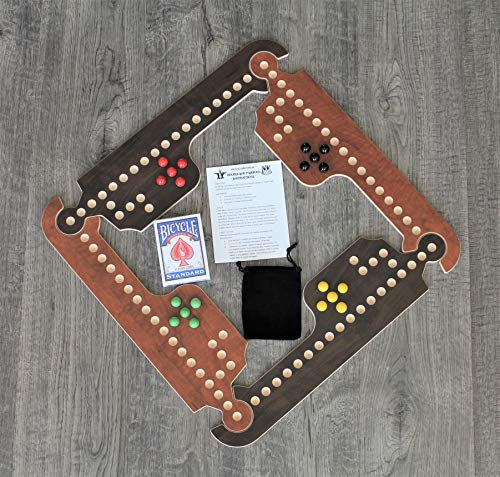 Rustic & Refined Design Jokers and Marbles Game (Brown, 4 Player) (The Marble Game)