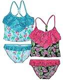 Real Love Girls' Tankini Bathing Suit Separates (2 Pack), Flamingo, Size 14-16'