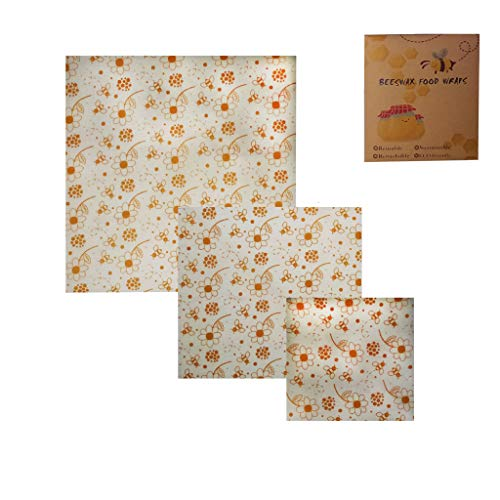 Fine Organic Reusable Food Wraps, Beeswax Food Wraps Assorted 3 Pack Sustainable Eco Friendly Food Storage Biodegradable Natural Alternative (A)